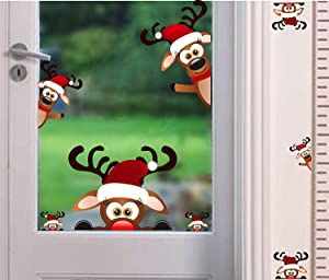 TOARTi Christmas Reindeer Wall Decal ,Lovely Christmas Wall Sticker for Kids Room Decoration,Window Cling Decal,Christmas Home Decals (9 pcs)