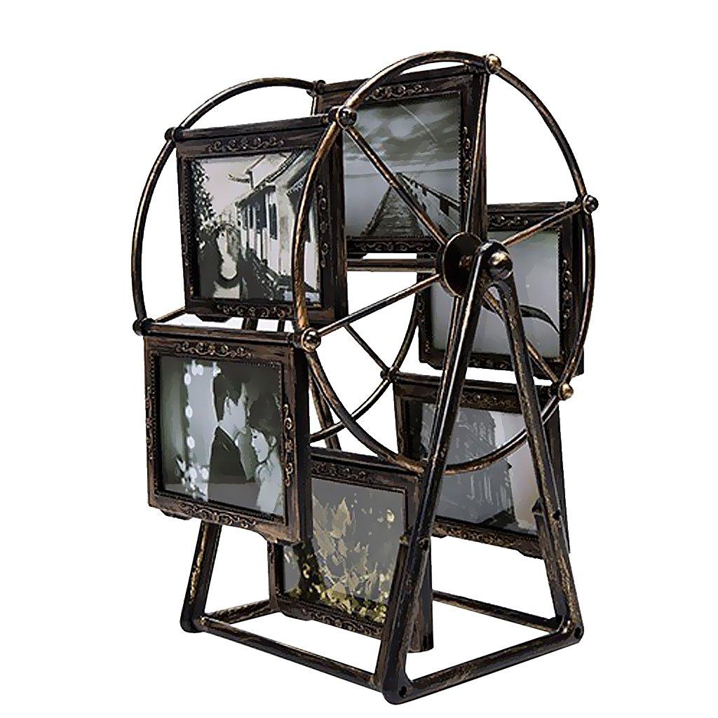 Sharplace 2x Bilderrahmen Fotorahmen Rotierende Riesenrad Ornament Tischdeko für Haus Büro