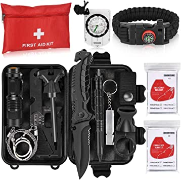 Office Camping Car Includes Workplace Travel and Sports Doctor Blacks 127 Piece First Aid Kit for Home 11 in 1 Multi-function steel tool Emergency Blanket Raincoat Ice Pack