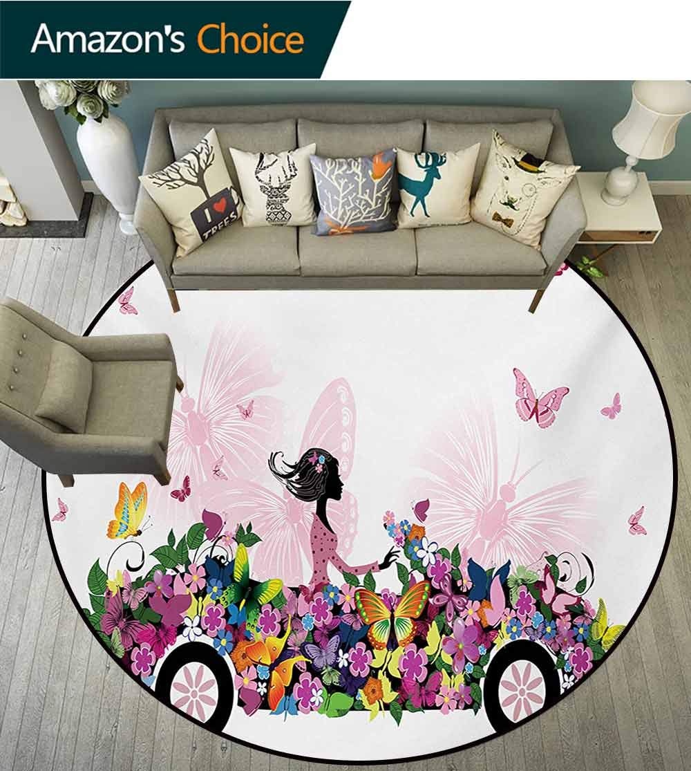 RUGSMAT Cars Modern Washable Round Bath Mat,Woman Driving A Floral Car with Butterflies in The Air Female On The Road Girls Theme Non-Slip Bathroom Soft Floor Mat Home Decor,Diameter-47 Inch