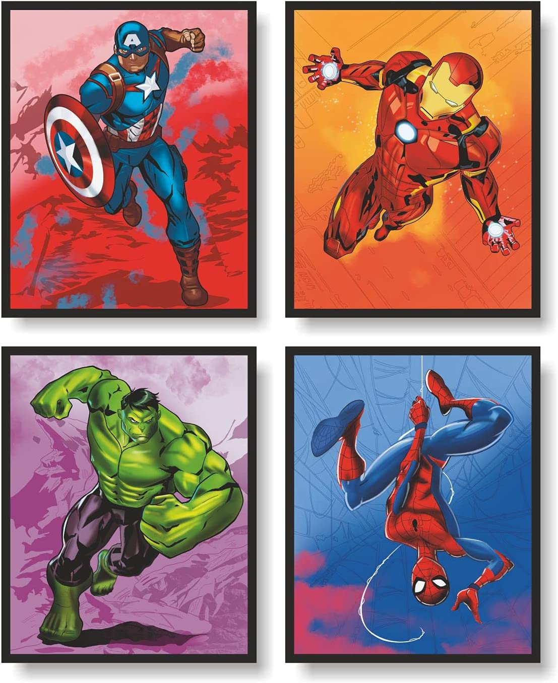 Avengers Superheroes Wall Decor Poster Prints, Superheros Watercolor Poster, Avengers Room Decor, Set of 4 FRAMELESS (8''x10''), Avengers Watercolor Poster, Avengers room decor for boys, Superheroes poster, Avengers prints, Avengers Room Decorations, Hulk Poster, Ironman Poster, Spiderman Poster, Captain America Poster, Superheroes Wall Art, Avengers Poster, Posters For Boys Room, Avengers Decorations, Avengers Decor, Superheroes Decorations, Posters For Girls Room, Superheroes Decor,