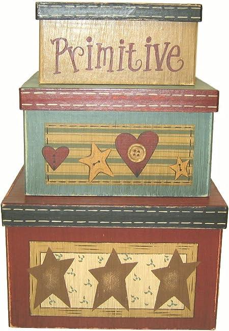 Amazon Com Craft Outlet Papier Mache Nesting Country Primitives Box Set Of 3 8 X 8 X 4 7 X 7 X 3 5 6 X 6 X 3 Home Kitchen