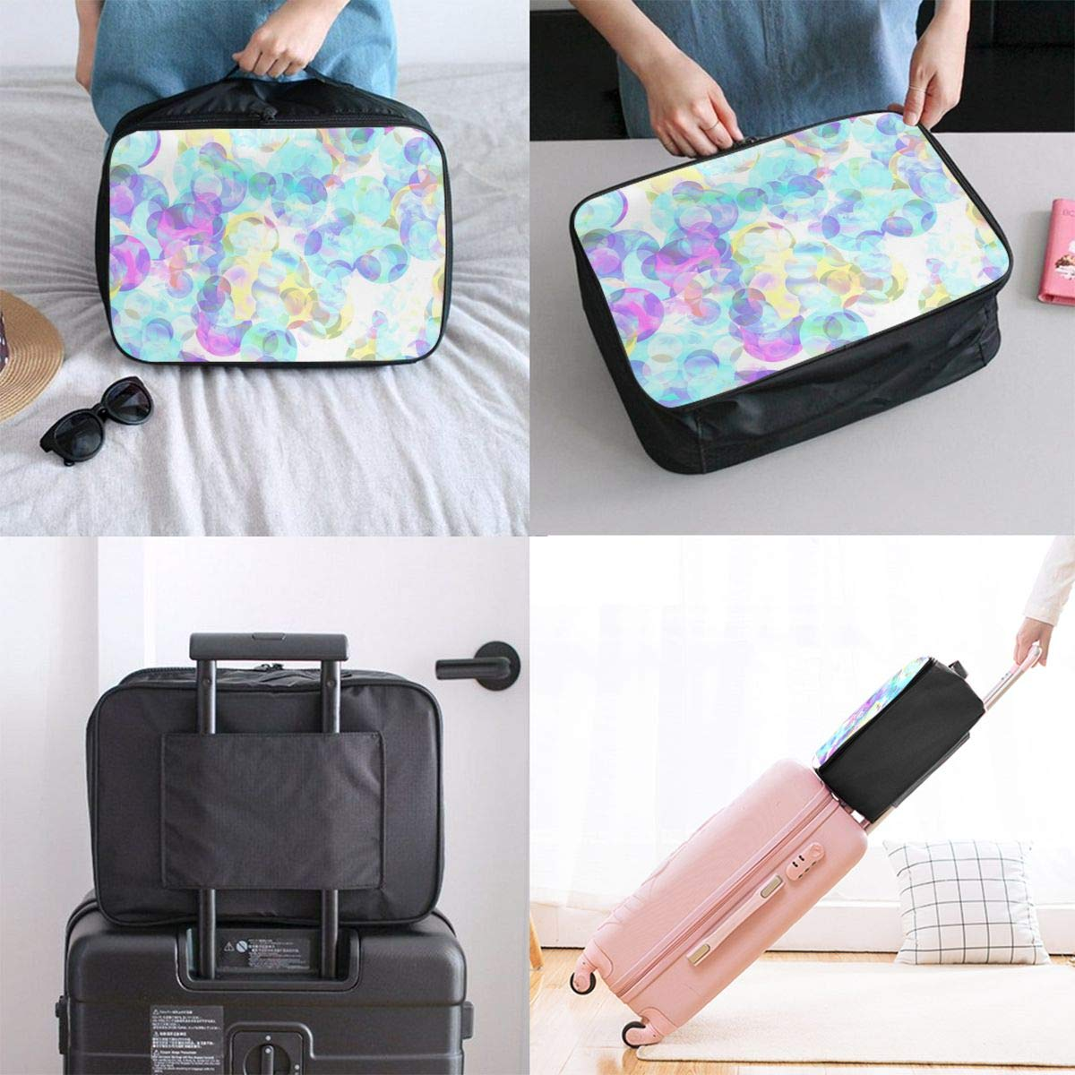 Abstract Art Bubble Travel Lightweight Waterproof Foldable Storage Carry Luggage Large Capacity Portable Luggage Bag Duffel Bag