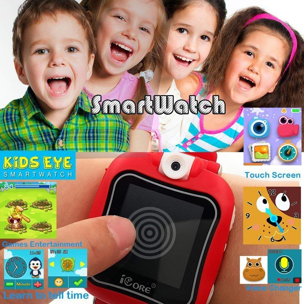 iCore Durable Kids Smartwatch, Electronic Child Smart Watch Video Games, Children Digital Tech Watches, Touch Screen Wearable Watches Learning Timer Alarm Clock Camera for Girls Boys by iCore (Image #5)