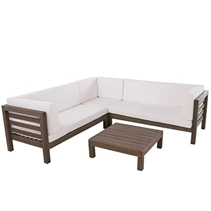 Admirable Gdf Studio Ravello Outdoor 5 Seater V Shaped Mid Century Modern Acacia Wood Sectional Sofa Set With Coffee Table Gray And White Caraccident5 Cool Chair Designs And Ideas Caraccident5Info