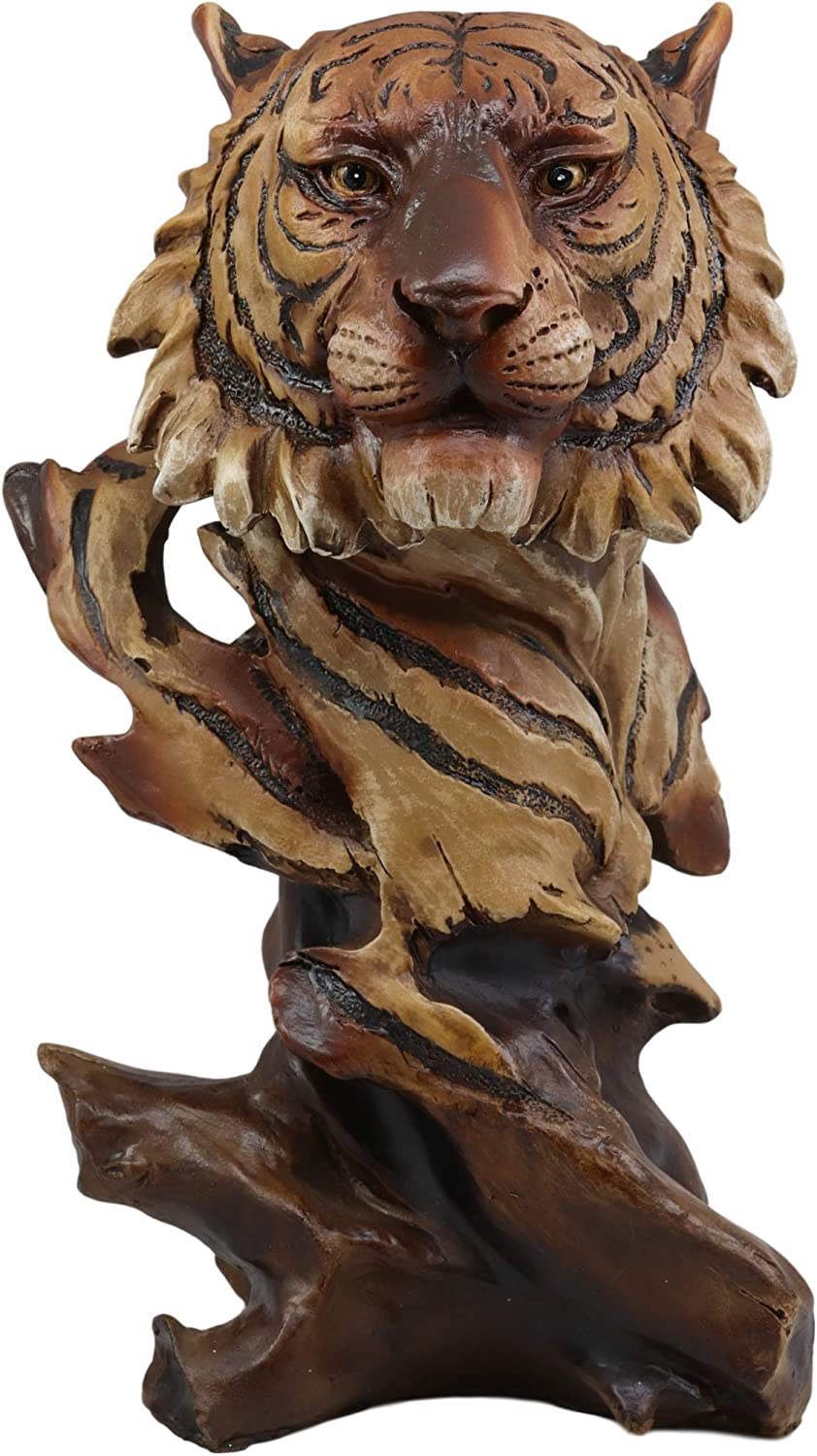 "Ebros Faux Wood Large Jungle Wildlife Orange Bengal Tiger Bust Statue 11"" Tall Apex Predator Giant Cat Tiger Or Tigress Decorative Figurine (Orange Bengal Tiger)"