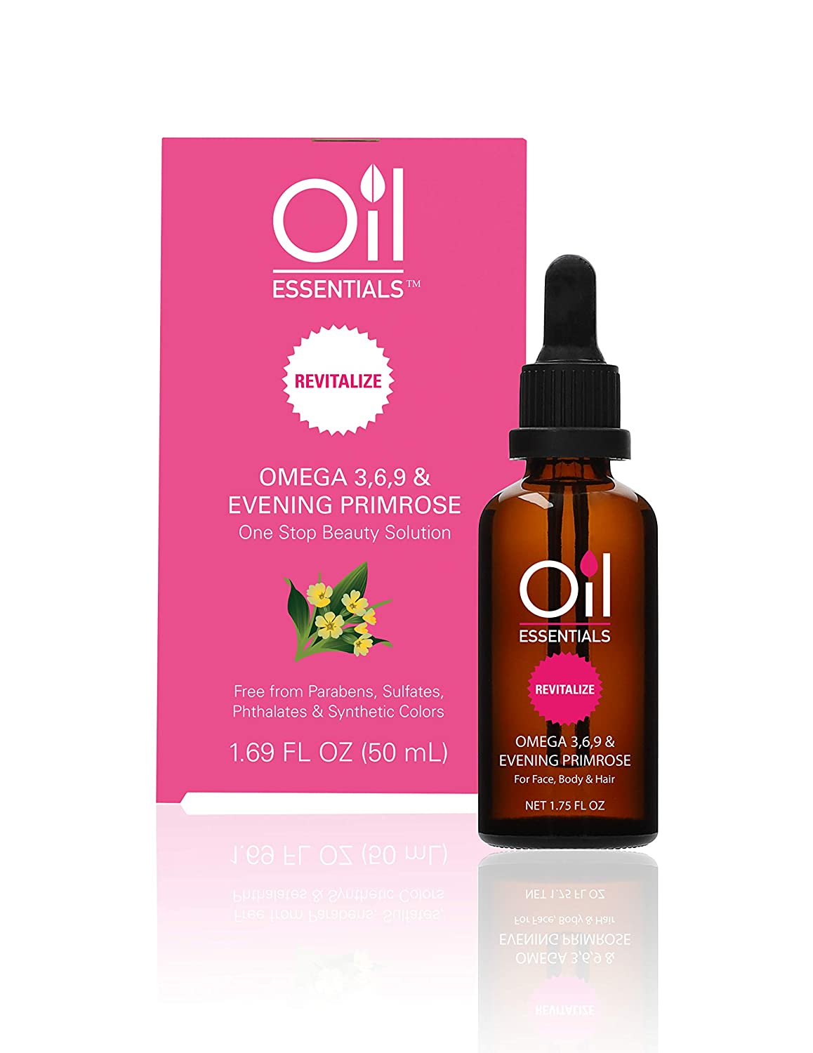 Oil Essentials Revitalize Evening Primrose Beauty Solution - Natural Healing Oil for Face, Skin, Hair, and Nails - Free of Parabens, Sulfate, Phthalate, and Synthetic Color 1.69 fl oz (50ml)
