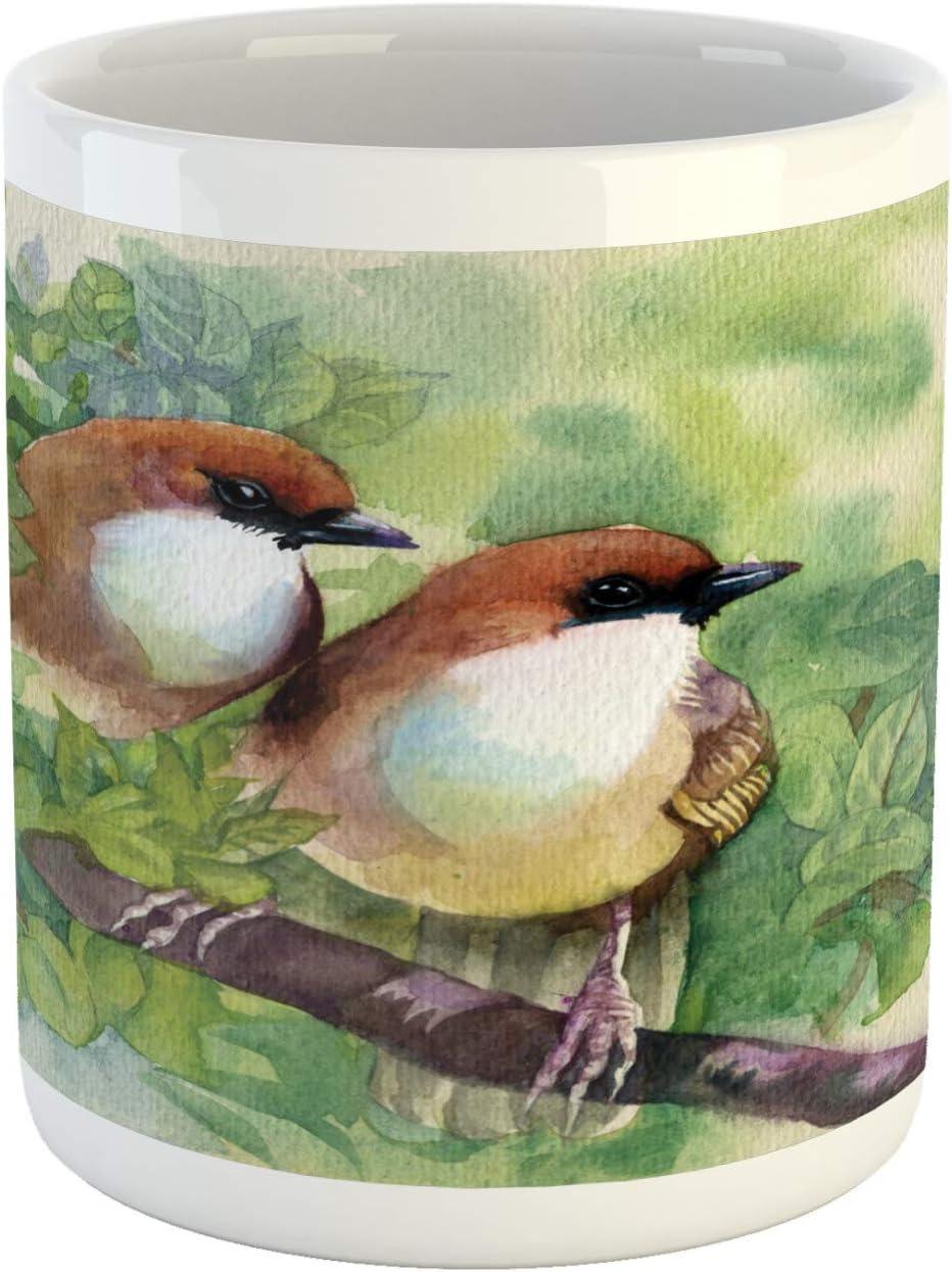 Ambesonne Birds Mug, Pair of House Sparrow Birds Romantic Love Portrayal Watercolor Style Pastoralrt, Ceramic Coffee Mug Cup for Water Tea Drinks, 11 oz, Brown Green