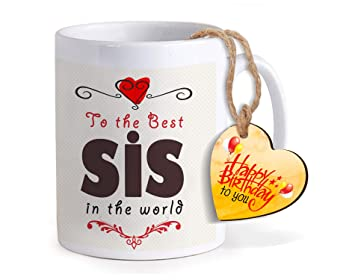 TIED RIBBONS Birthday Gifts For Sister From Brother Printed Coffee Mug With Wooden Tag