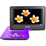 "ieGeek 12.5"" Portable DVD Player with Swivel Screen, 5 Hour Rechargeable Battery, Supports SD Card and USB, Direct Play in Formats MP4/AVI/RMVB/MP3/JPEG, Purple"