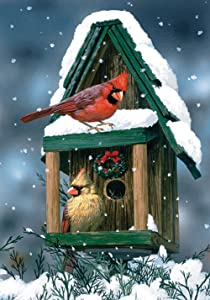 Toland Home Garden Cardinals In Snow 28 x 40 Inch Decorative Winter Bird Birdhouse Snowflake House Flag - 100558