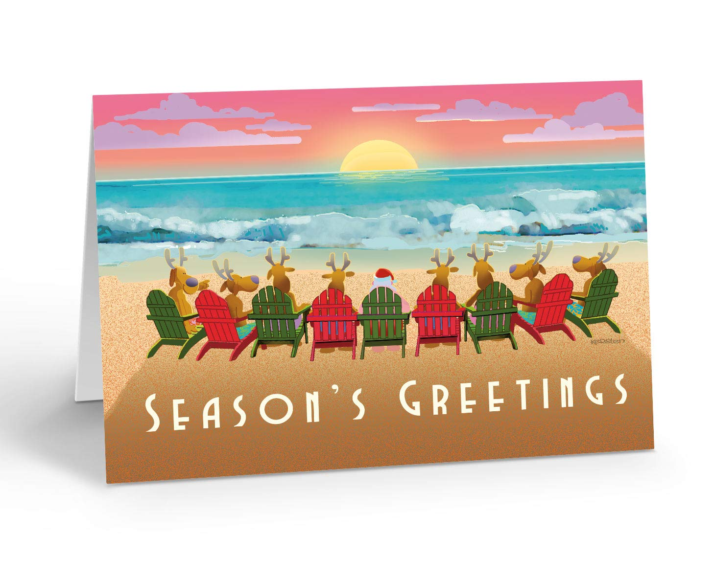 Beach Christmas Cards >> Beach Sunset Christmas Card 18 Cards 19 Envelopes Beach Christmas Cards