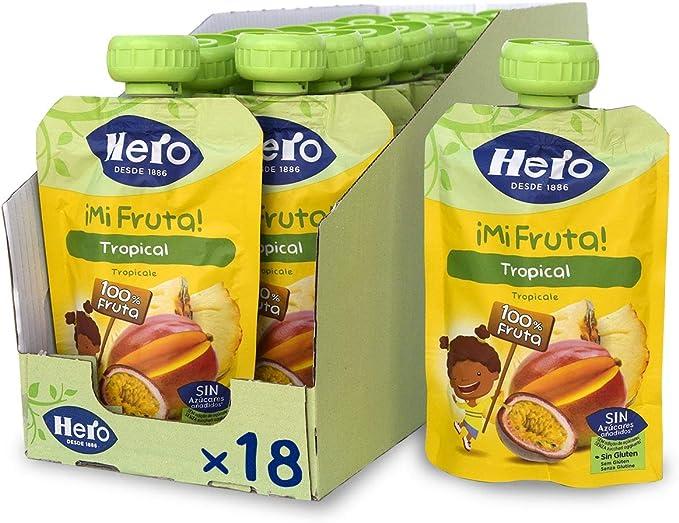 Hero Baby Mi Fruta - Bolsita de Fruta sabor Tropical, Sin Azúcares Añadidos, para Bebés a Partir de los 12 Meses - Pack de 18 x 100 g: Amazon.es: Alimentación y bebidas