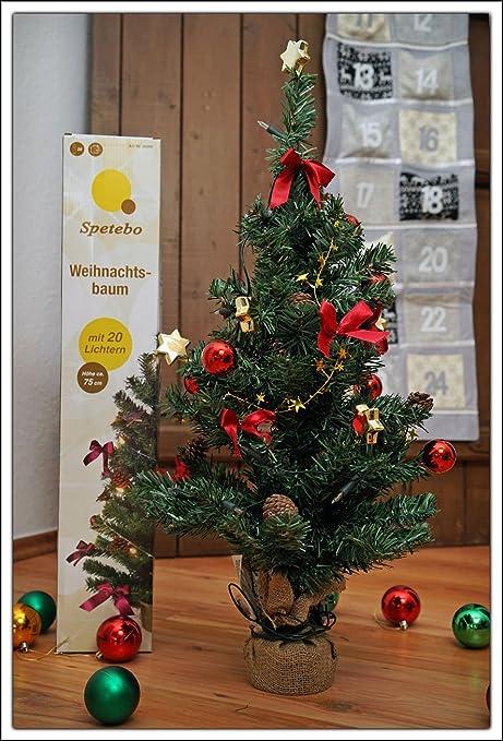 Albero Di Natale 75 Cm.Spetebo Albero Di Natale 75 Cm Funzionamento A Batteria Completamente Decorato Con 20 Luci Led Sfere Fiocchi E Stelle Amazon It Casa E Cucina