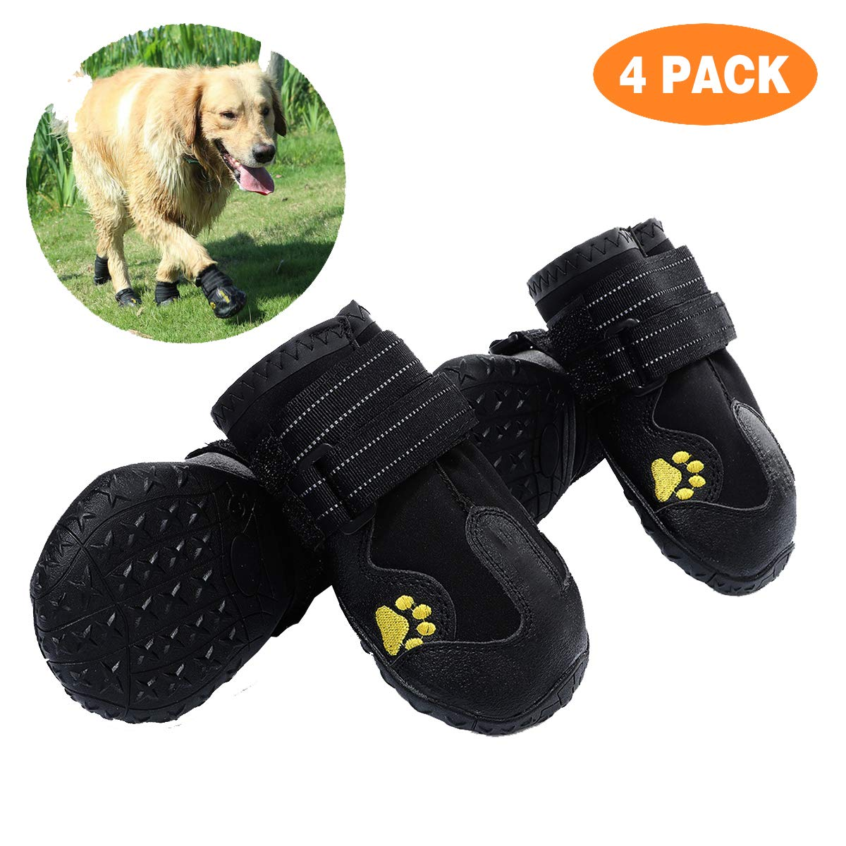 PG.KINWANG Dog Boots Waterproof Dog Shoes for Medium to Large Dogs with Reflective Velcro Rugged Anti-Slip Sole Pet Paw Protectors Labrador Husky Black 4 Pcs (Size 6: 2.9''x2.5'')