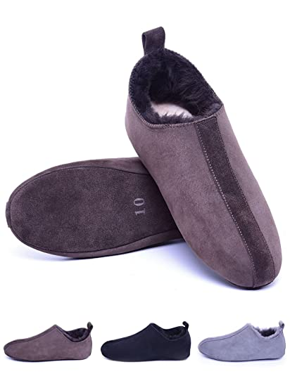 9231cbfd789 Men's Sheepskin Slippers with Soft Leather Sole,Shearling House Shoes,Slip  on Indoor Slippers for House/Office/Drive