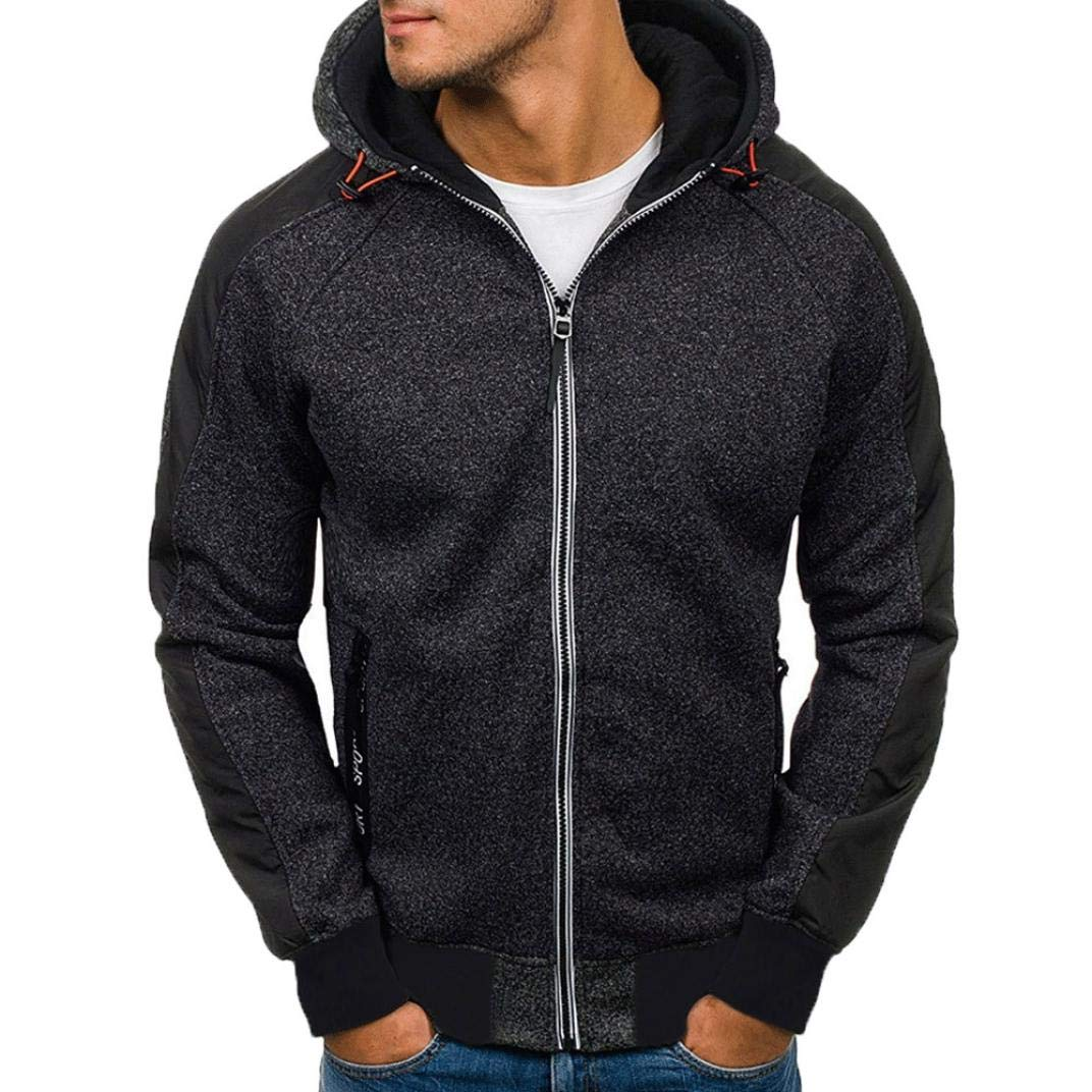 Clearance☀☀Men Sports Sweatshirt, NEARTIME Fashion Men's Autumn Casual Jacket Patchwork Zipper Hooded Coat with Pockets