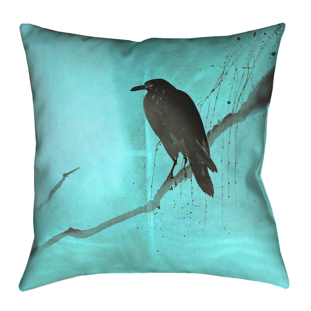ArtVerse Katelyn Smith 20 x 20 Spun Polyester Red Crow and Willow Pillow