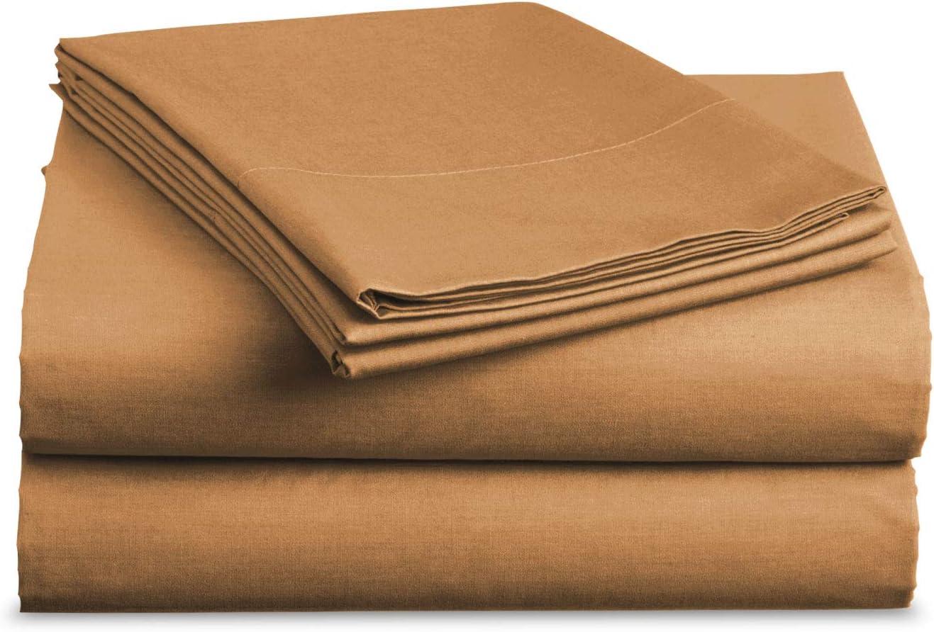 Luxe Bedding Sets - Microfiber Sheet Set 4 Piece Bed Sheets, Deep Pocket Fitted Sheet, Flat Sheet, Pillow Case, Mocha, Full
