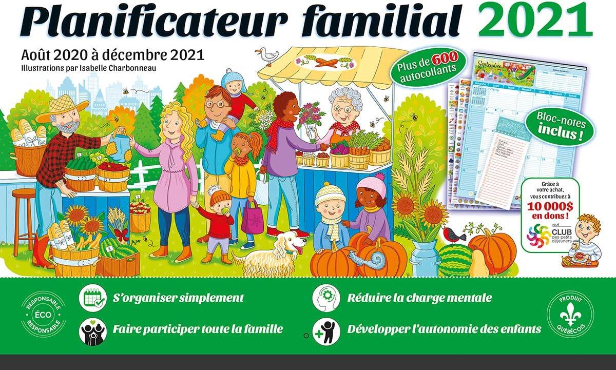 Calendrier Familial 2021 Planificateur Familial 2021  Calendrier magnétique 17 Mois: août