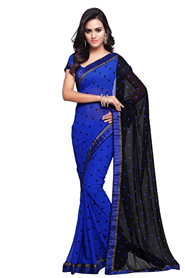 fa5f7b4fa2436a SOURBH Women's Georgette Saree with Blouse Piece Free Size (Blue, ...
