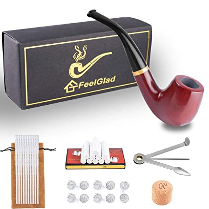 Tobacco Pipe Kit 6-in-1 - Rosewood Smoking Pipes for Tobacco with  Accessories and Luxury Gift Box(Pipe Cleaners/Scraper/Filter Element/Filter