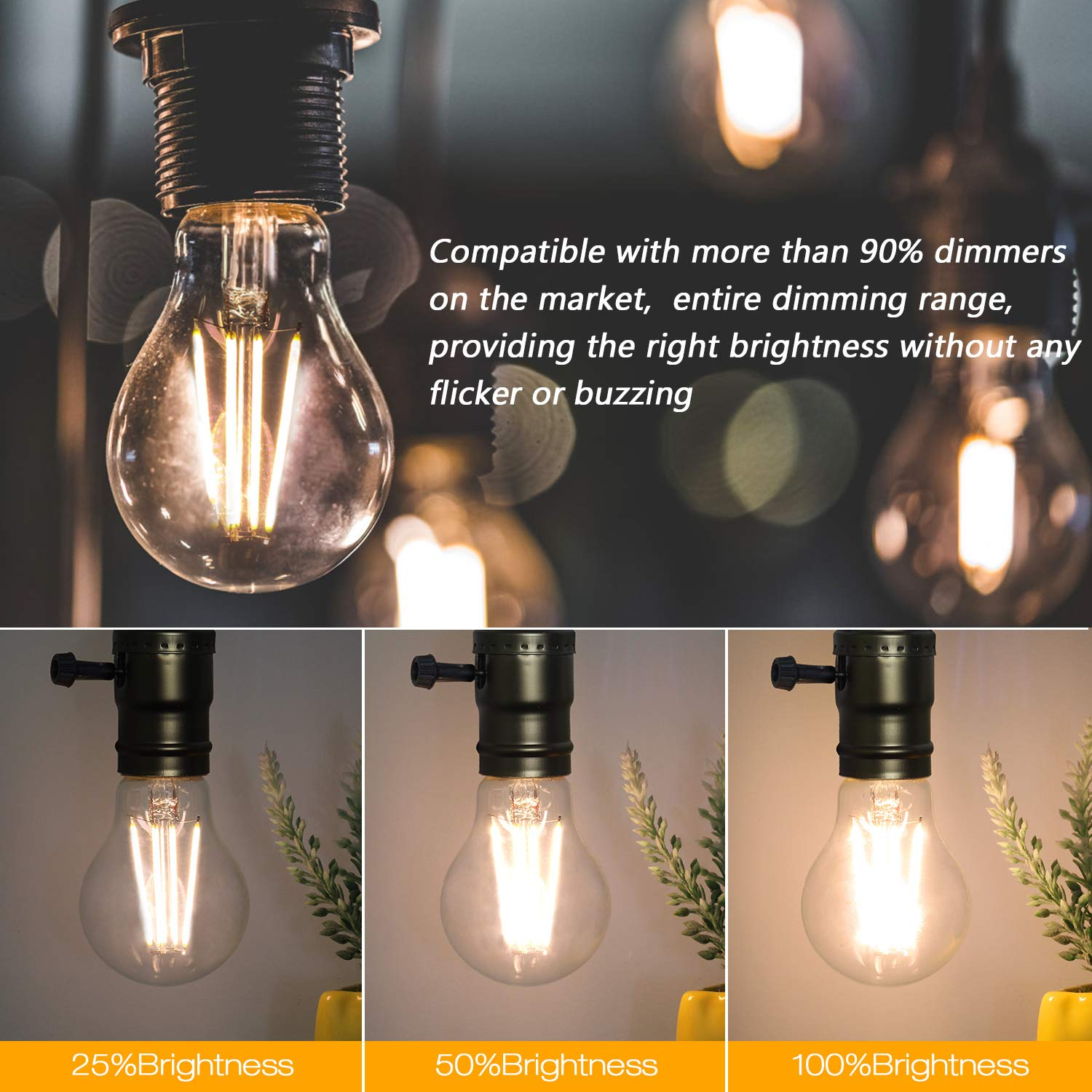 Vintage LED Edison Bulb Dimmable 6W A19 LED Light Bulbs 2700K Soft White 600LM Led Filament Bulb 60W Incandescent Equivalent E26 Medium Base Decorative Clear Glass for Home, Restaurant, Cafe, 6 Pack by Boncoo (Image #4)