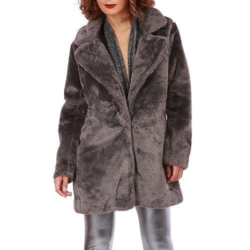 La Modeuse - Abrigo - para mujer gris oscuro Large