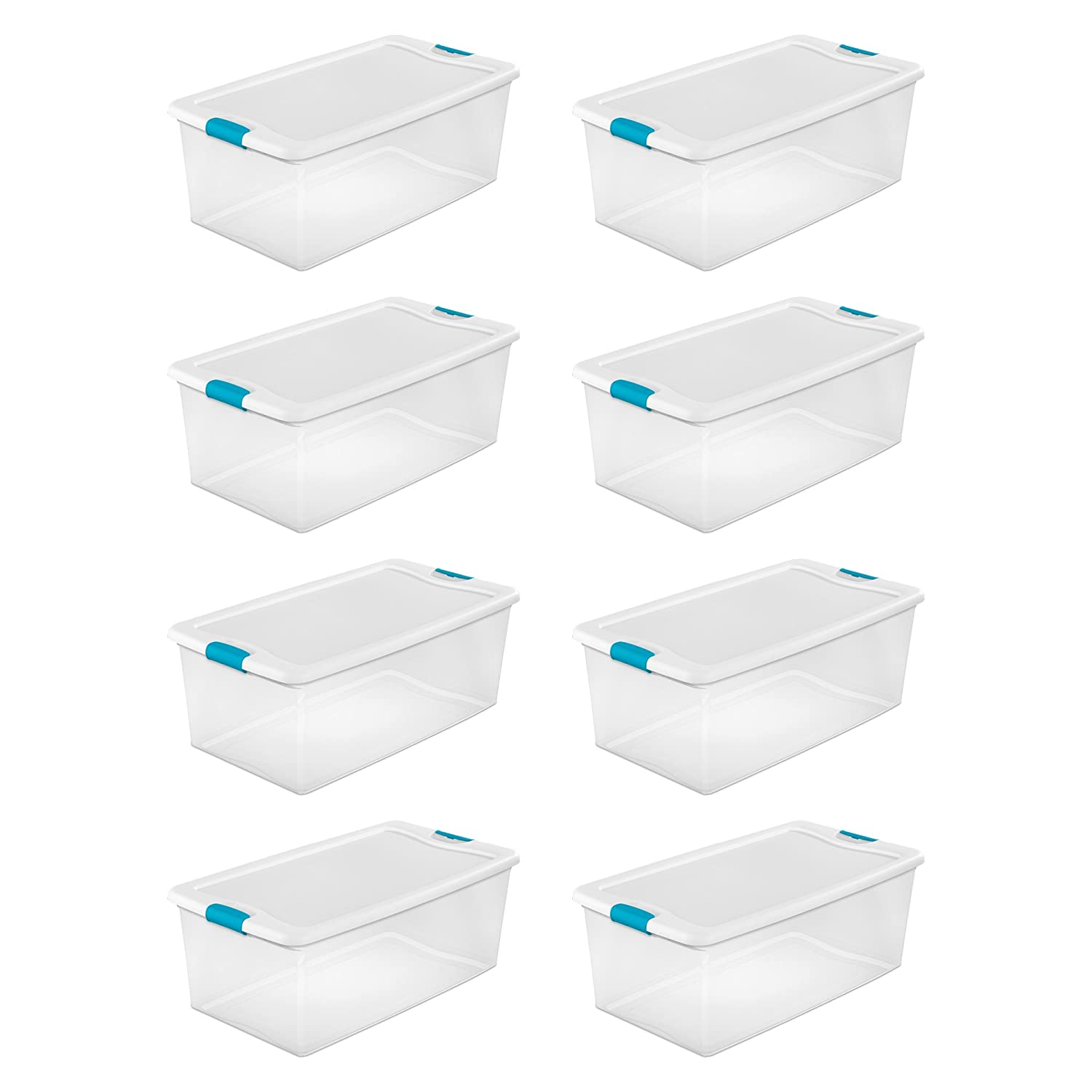 Sterilite 1499 106-Quart Clear Latching Stacking Storage Box, 8 Pack