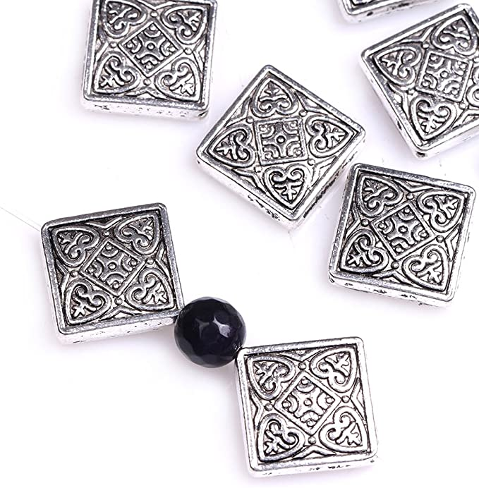 GEM-inside Flower Leaf Bali Style Antique Tibetan Silver Findings Jewelry Making DIY Spacer Beads Charms Jewelry Findings Jewelry Making DIY Connectors 100Pcs FGP0076
