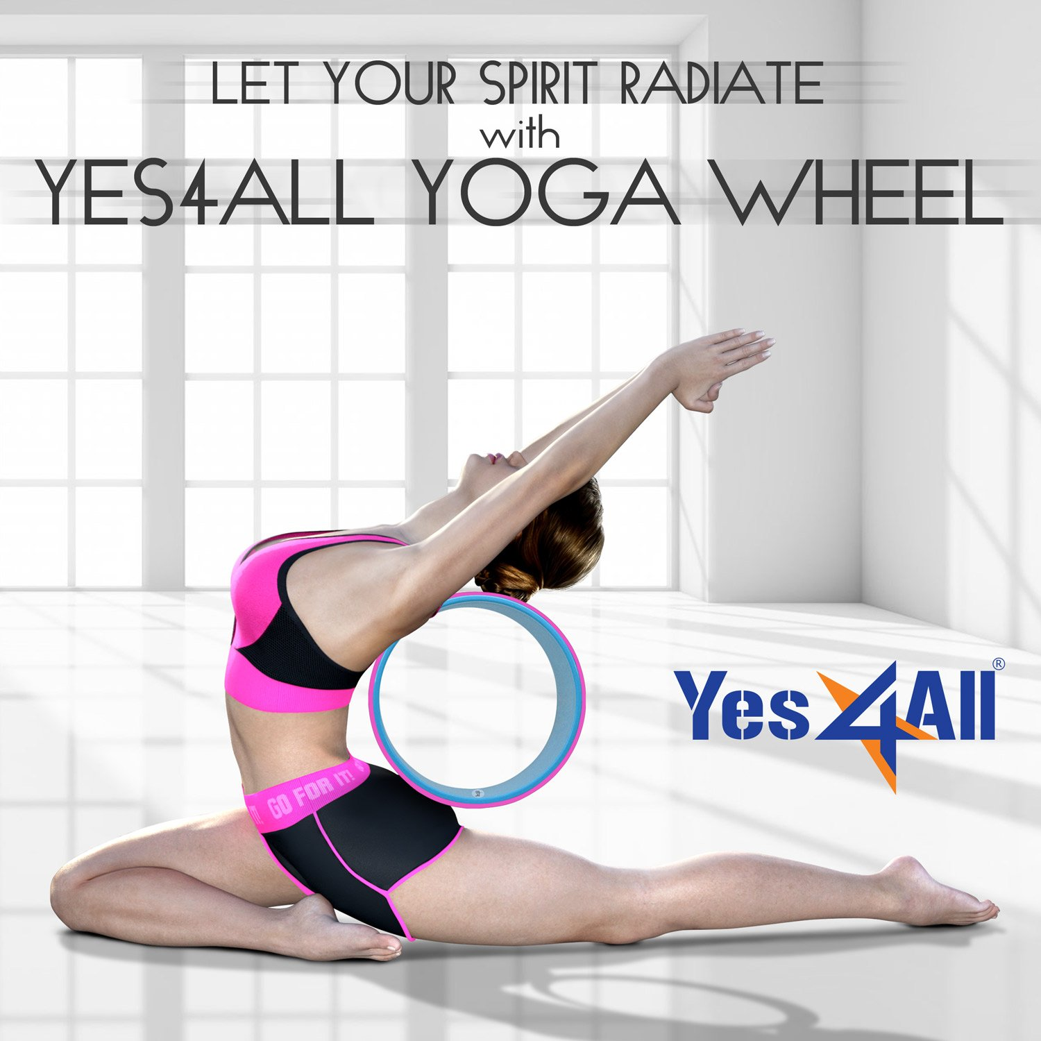 "Yes4All Yoga Wheel 13"" x 5"" – Stretching/Support for Yoga Poses & Backbends – Multi Color Available – Support Up to 500 lbs"