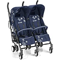 Brèves 764239 Stroller – Strollers (Multifunction/Combi, double, Blue, Swivel, aluminium, Hood, Rain coque)