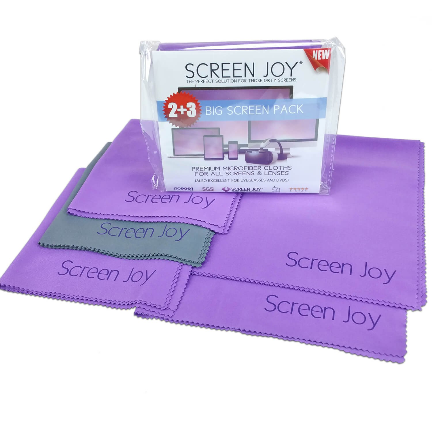 Screen Joy Screen Cleaning Cloths - 3 Large Microfiber Cloths Wonderful for Lenses, Eyeglasses, Flat Screen TVs, Laptops, Tablets, ALL Smartphones and Much More - 3 Pack Large (12x12 inch) IX Better Home SJ-MF12-3Pk