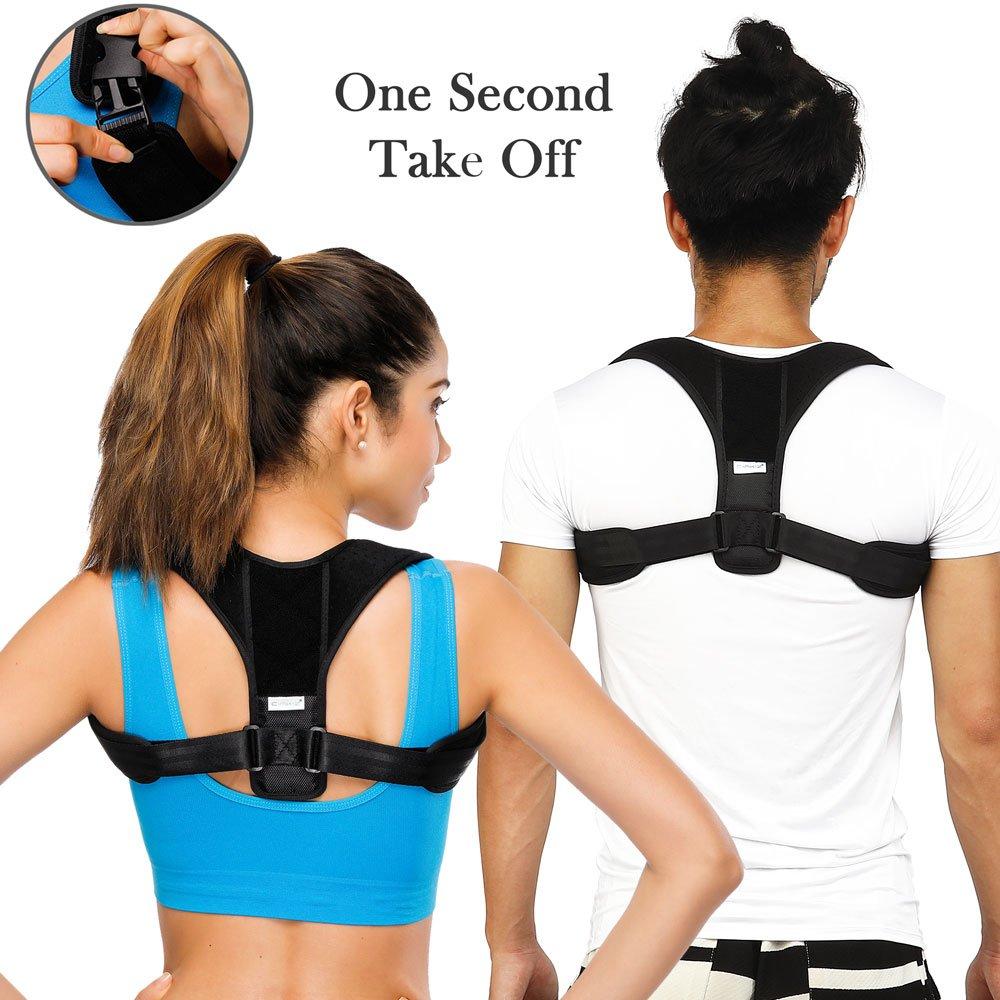 Shoulder Posture Corrector for Women Men Kids- Comfortable Adjustable Posture Correct Brace Clavicle Brace Upper Back Brace Shoulder Brace 1 Second Take Off Design Pain Relief Posture Trainer