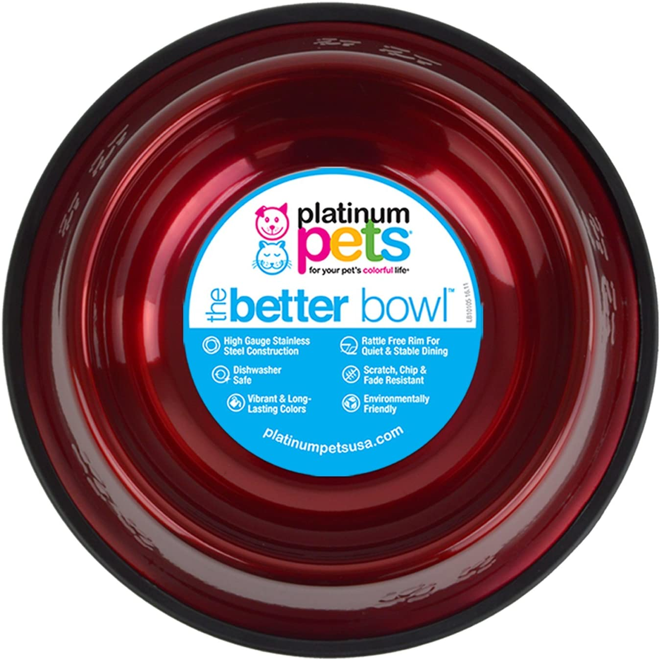 Platinum Pets Non-tip Stainless Steel Dog Bowl, 50 oz, Red