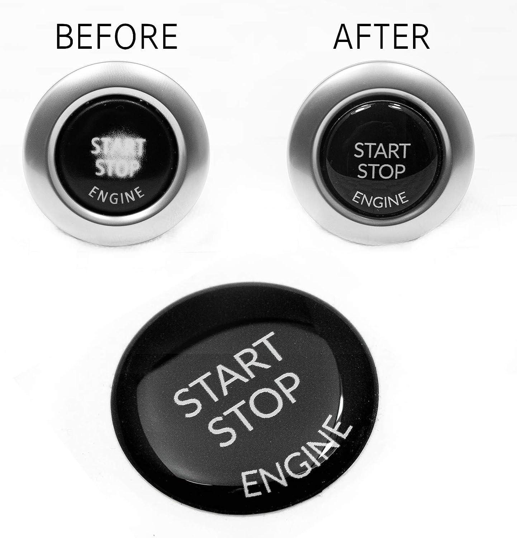 Start Stop Engine Knopf 1 Stück Aufkleber Reparatur Schalter Schutz Kappe Austausch Taste Tastenabdeckung Zündschlüssel Cover Zündung Schwarz Auto