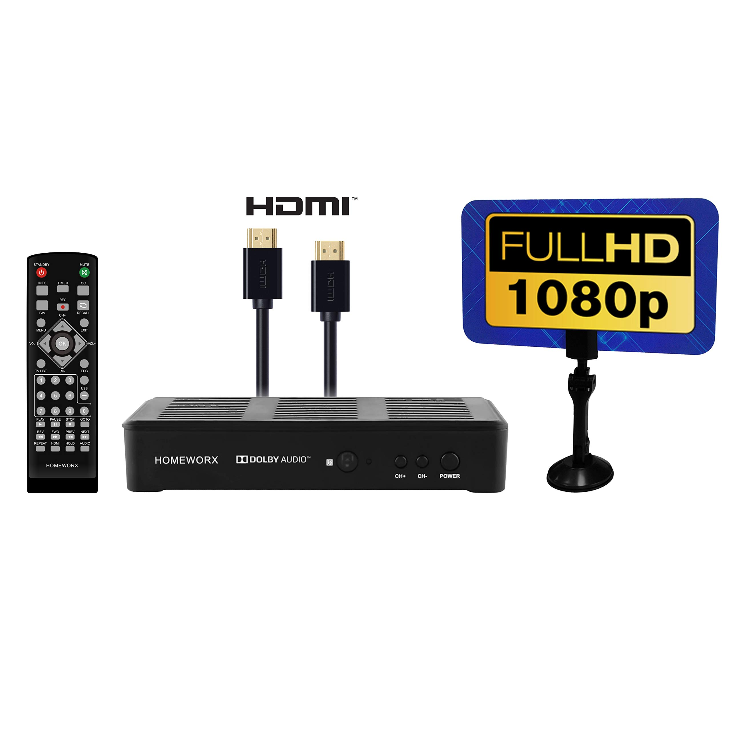 Mediasonic HomeWorx ATSC Digital Converter Box + Flat Antenna + HDMI Cable with TV Tuner and TV Recording Function (HW180AC)