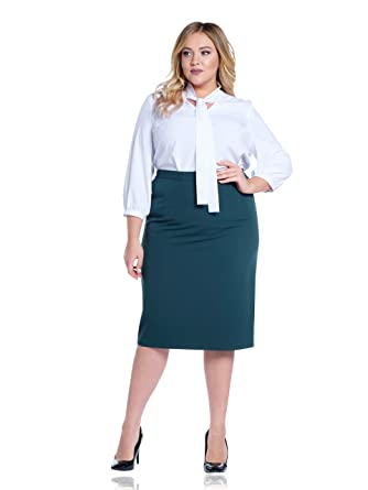 372f01c8c Max & Style FIESTΔ Plus Size Vintage Below Knee Pencil Skirt For Work or  Office US