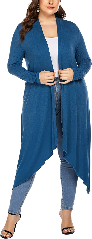 INVOLAND Womens Plus Size Cardigan Drape Open Lightweight Long Duster Casual Maxi Long Sleeve Cardigans