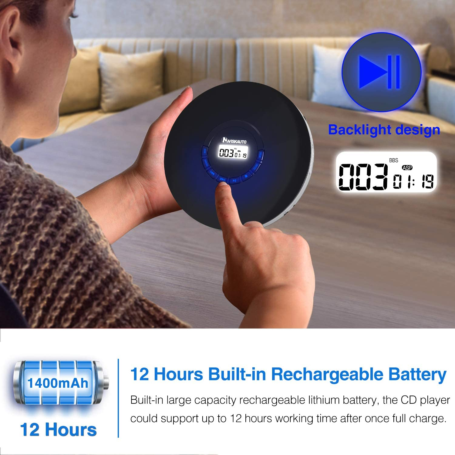Shockproof and 3.5mm AUX Cable Rechargeable Portable CD Player for Car 12 Hours Playing Time Compact Personal CD Player with LED Backlit Display