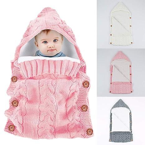 Yinuoday - Saco de dormir con capucha para bebé recién nacido, manta para bebés de 0 a 12 meses, diseño de actualización rosa rosa Talla:30X14