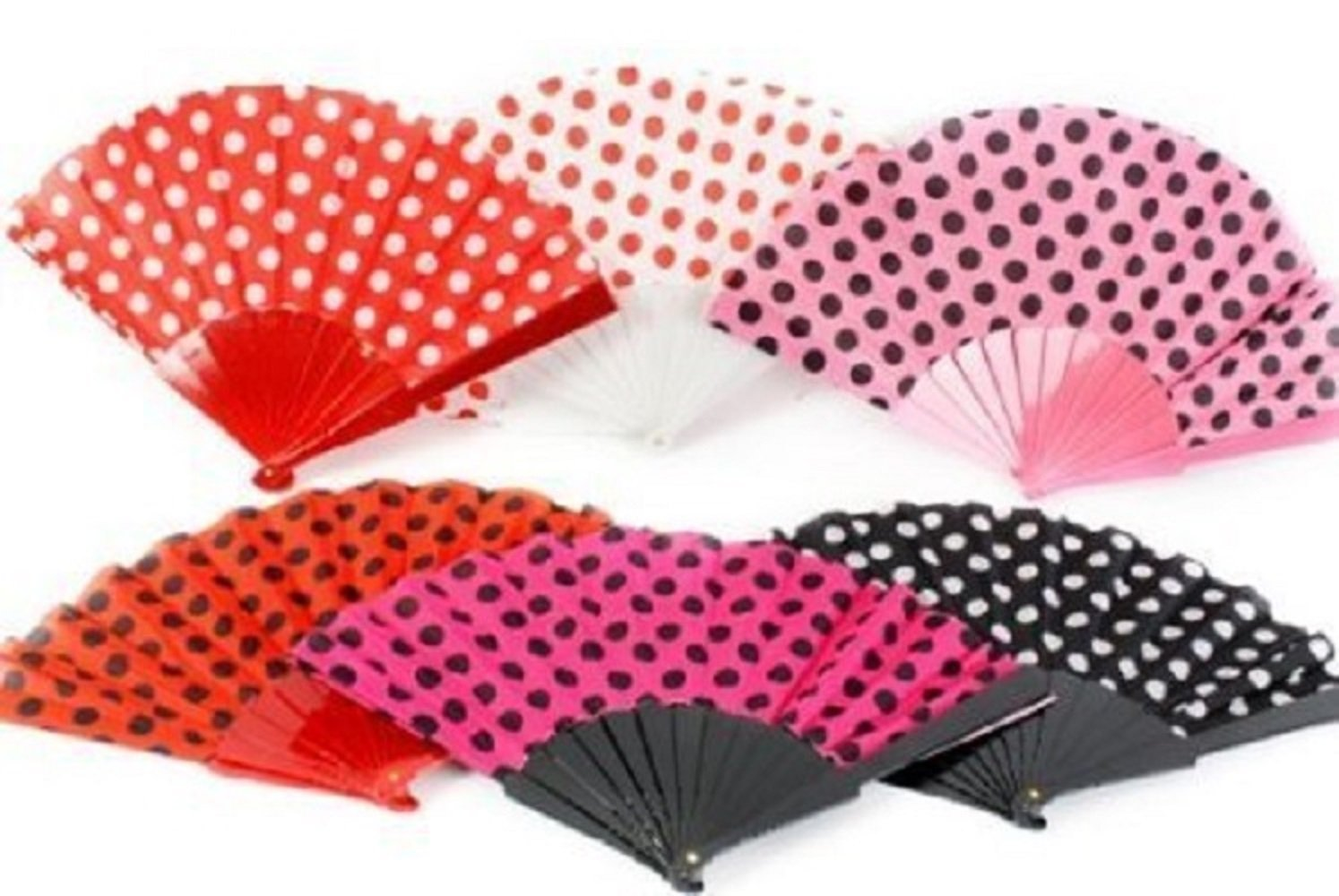 Polka Dot Design Plastic Fabric Chinese Folding Hand Fan / Handheld fan Compact and Fits in most hand bag, ideal for travel Concept4u