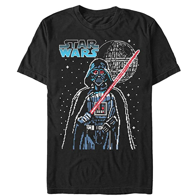 Star Wars Mens Pixel Darth Vader Death Star T Shirt