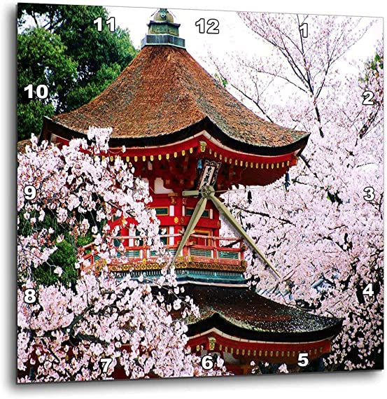 3dRose dpp_57628_1 Oriental Cherry Blossoms-Wall Clock, 10 by 10-Inch