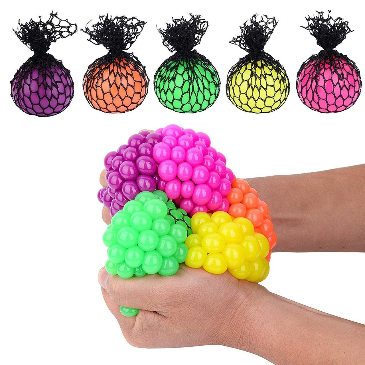 Totem World 36 Colorful Sewn Mesh Stress Balls - 2.4'' Squishy Fidget Toy Perfect for Kids and Adults Materials for Lasting Use - Squeeze Balls for Anxiety and Concentration - Great Party Favors by Totem World (Image #5)