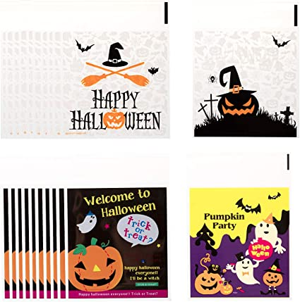 200pcs Self Adhesive Halloween Candy Cookie Bags Food Packing Bag Party Favor