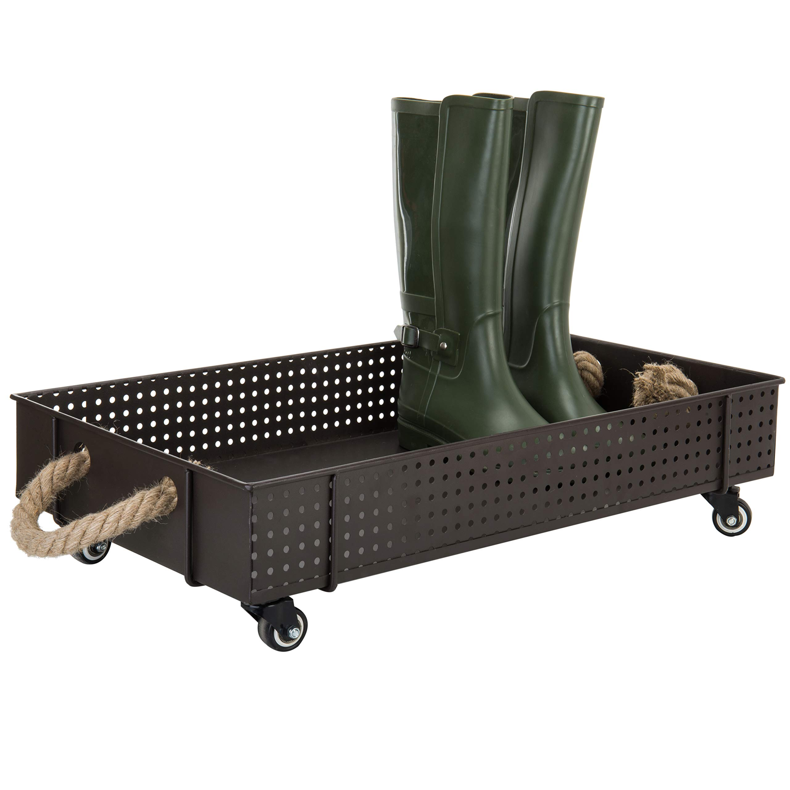 MyGift 26-Inch Industrial Brown Metal Rolling Boot Cart by MyGift