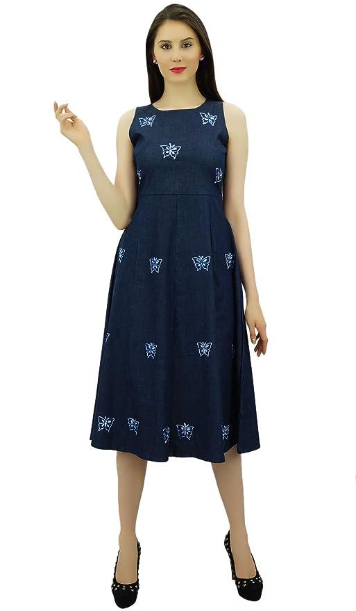 e15eee7fabd Bimba Women s Embroidered Denim Shift Dress Sleeveless Mid Calf Length Casual  Dresses  Amazon.co.uk  Clothing