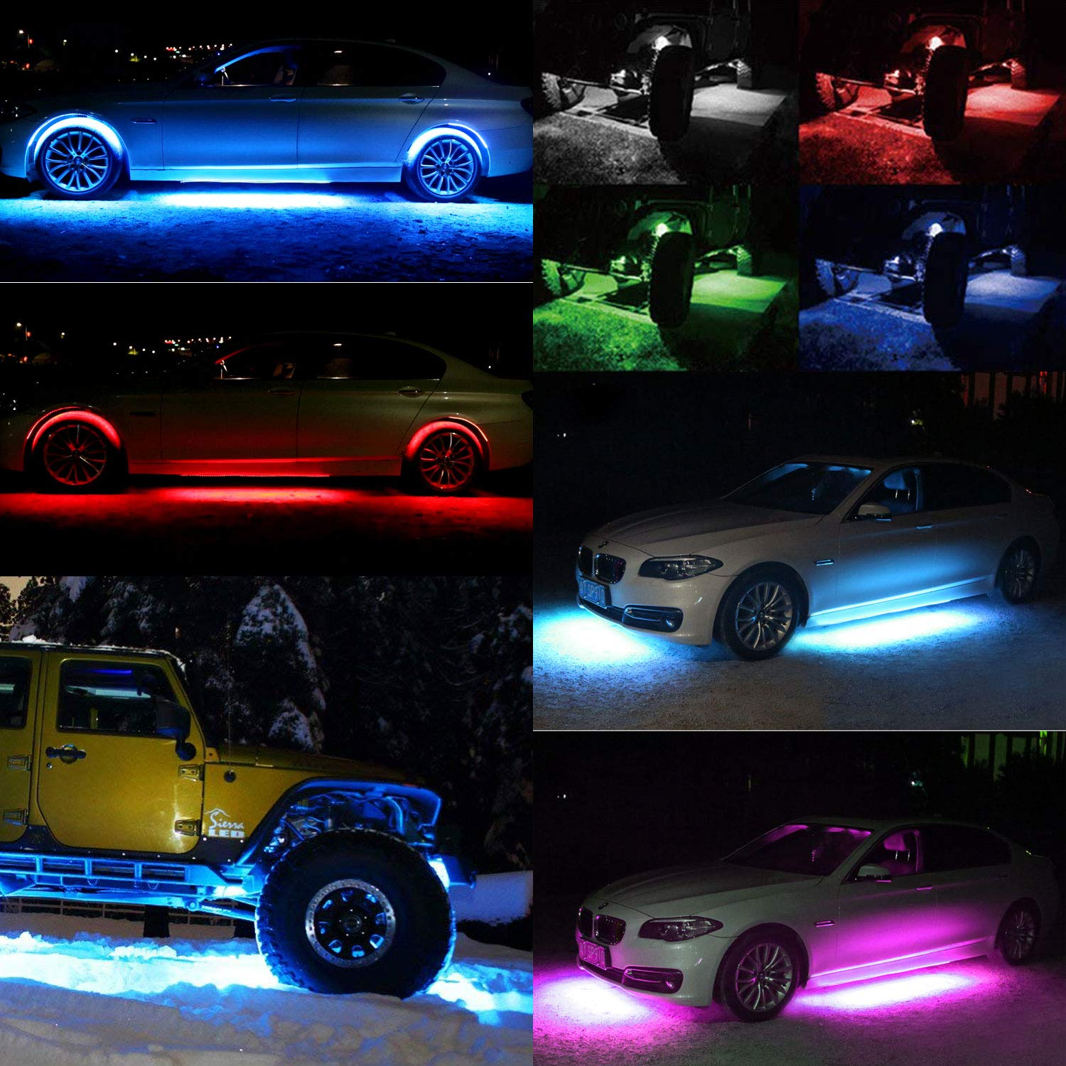 LED Rock Light Kits with 6 pods Lights for Off Road Truck Car ATV SUV Red
