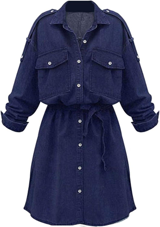Tirahse Popular Women Fashion Casual Vintage Slim Fit Classic Denim Dress